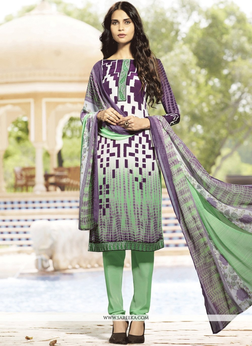 Embroidered Work Multi Colour Faux Crepe Churidar Suit
