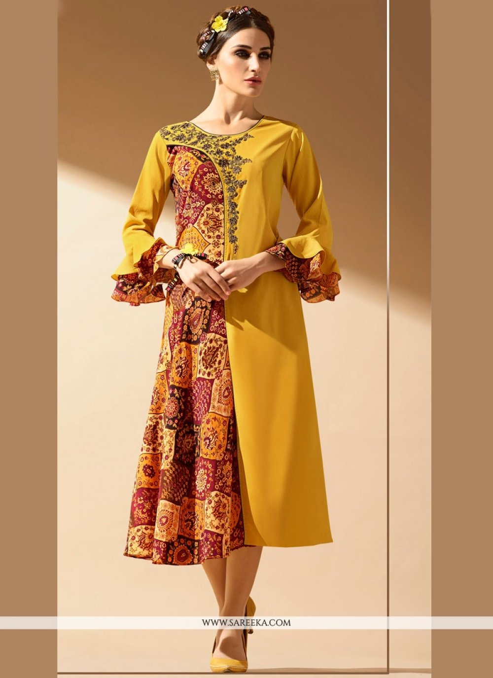 Embroidered Work Multi Colour Faux Georgette Party Wear Kurti