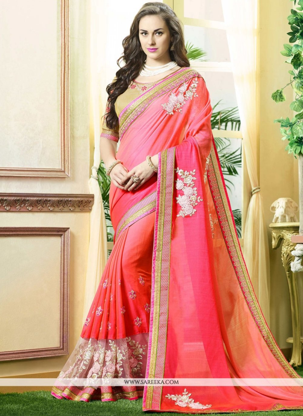 Embroidered Work Net Shaded Saree