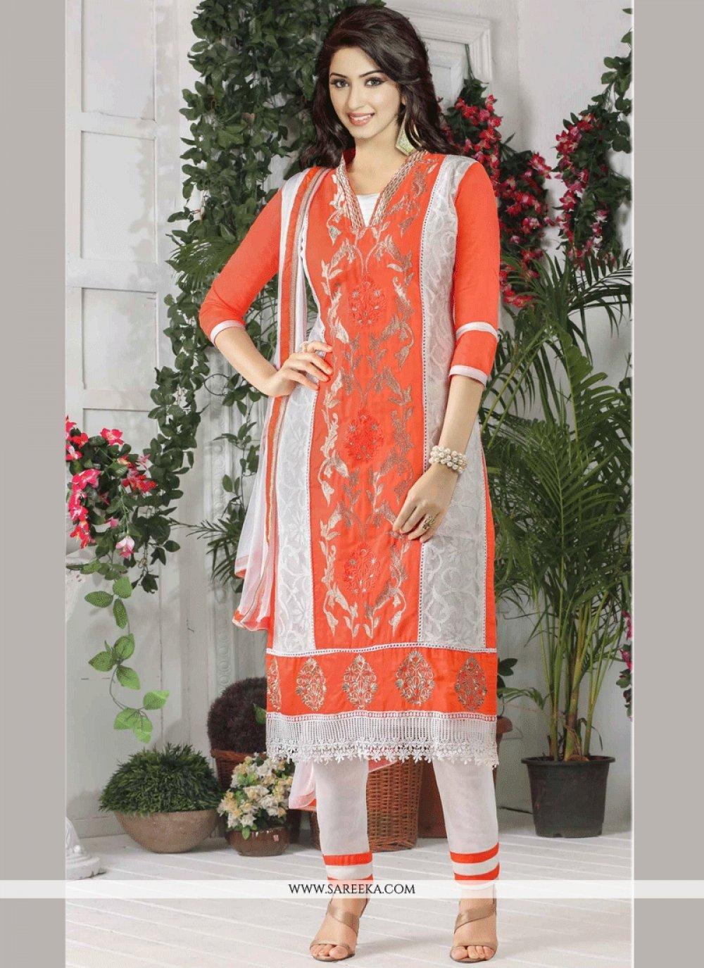 Embroidered Work Orange Churidar Suit