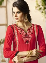 Embroidered Work Rayon Red Party Wear Kurti
