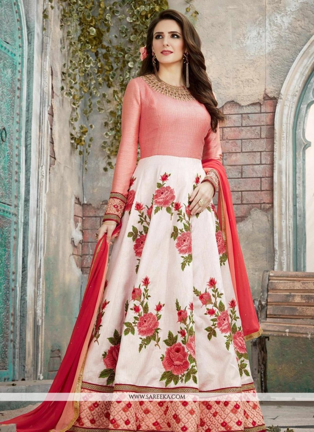 Embroidered Work Red and White Art Silk Floor Length Anarkali Suit