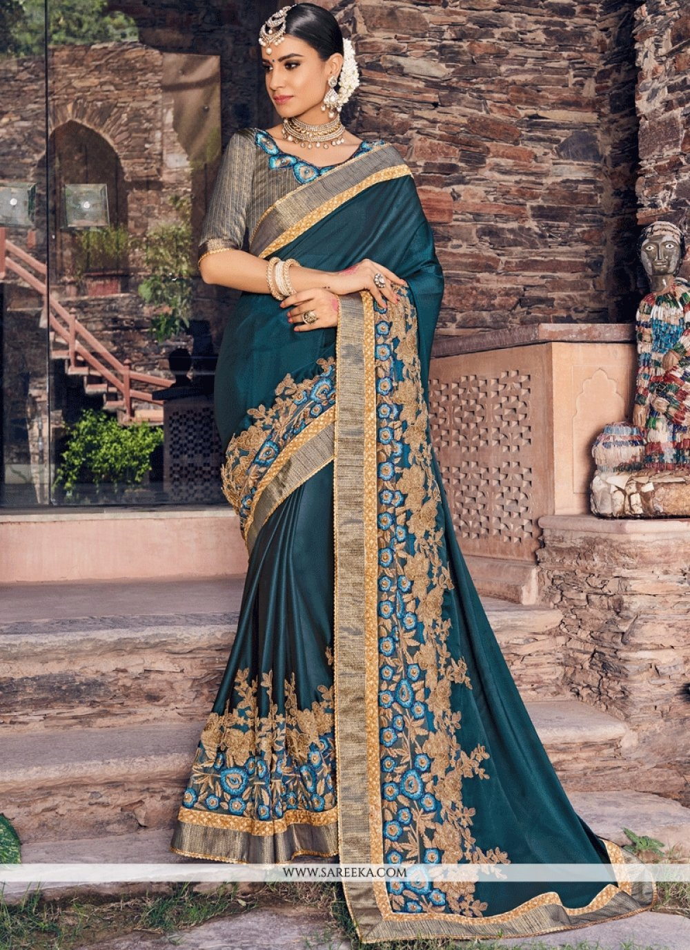 Embroidered Work Satin Classic Designer Saree