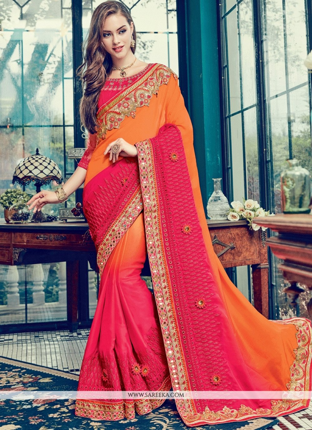 Embroidered Work Satin Shaded Saree
