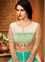 Embroidered Work Sea Green and White Anarkali Suit