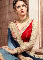 Embroidered Work Teal Designer Traditional Saree