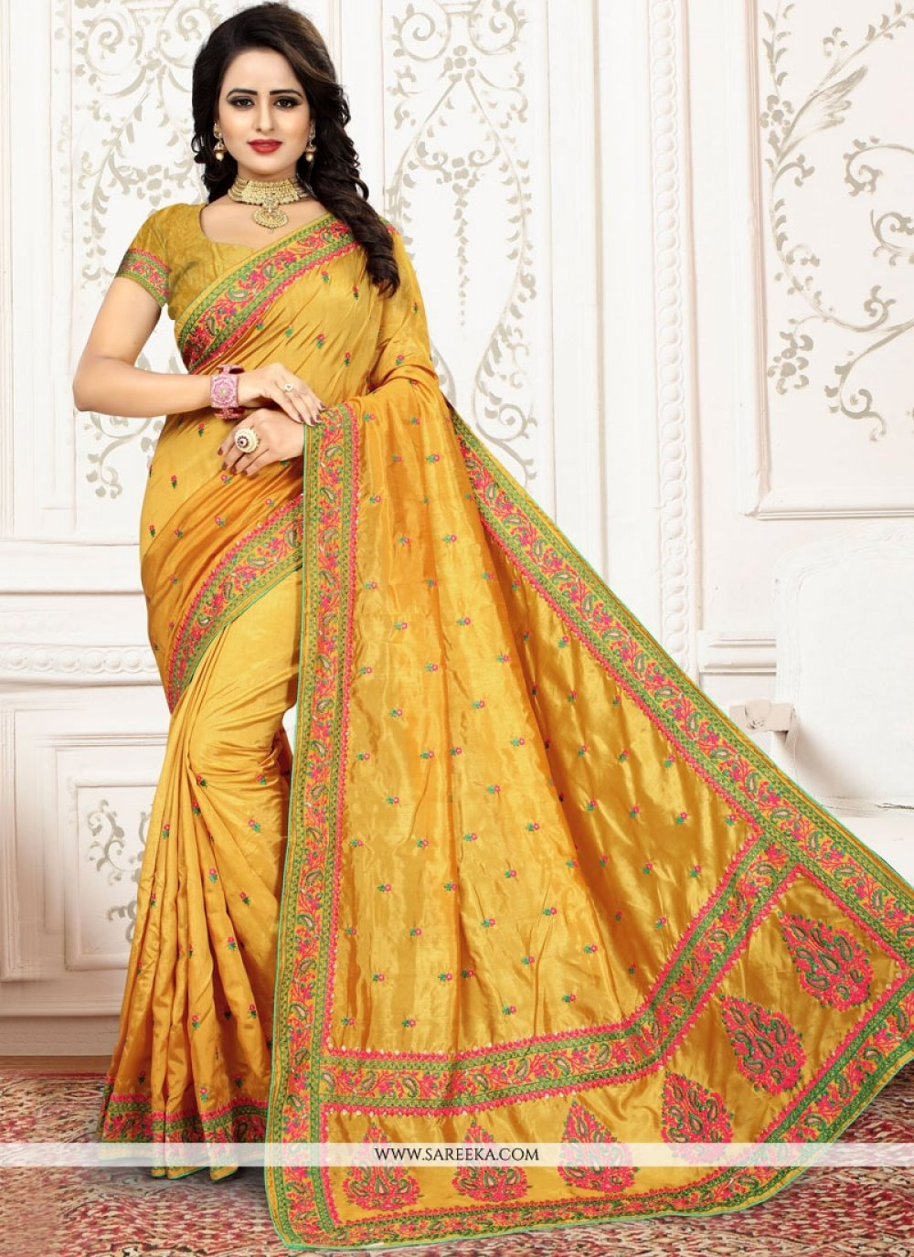 Embroidered Work Yellow Art Silk Traditional  Saree