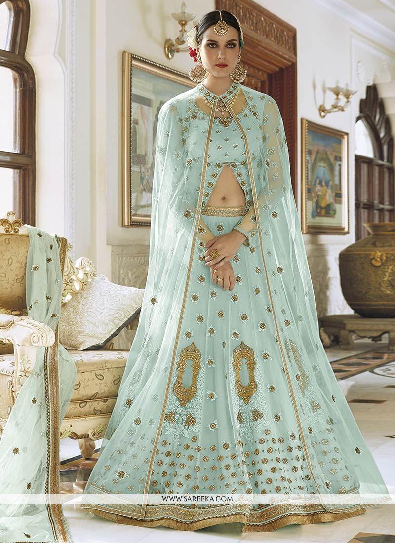 Blue Resham Work Art Silk Long Choli Lehenga