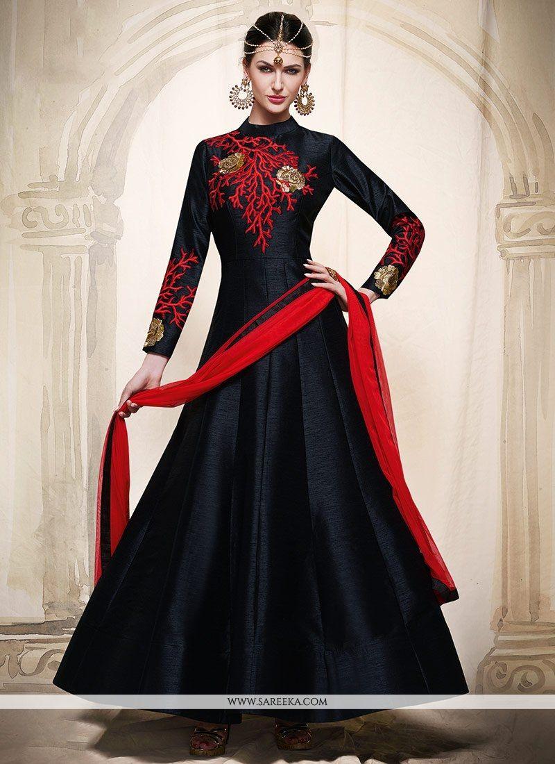 Buy black floor length anarkali suit online uae for Floor length anarkalis