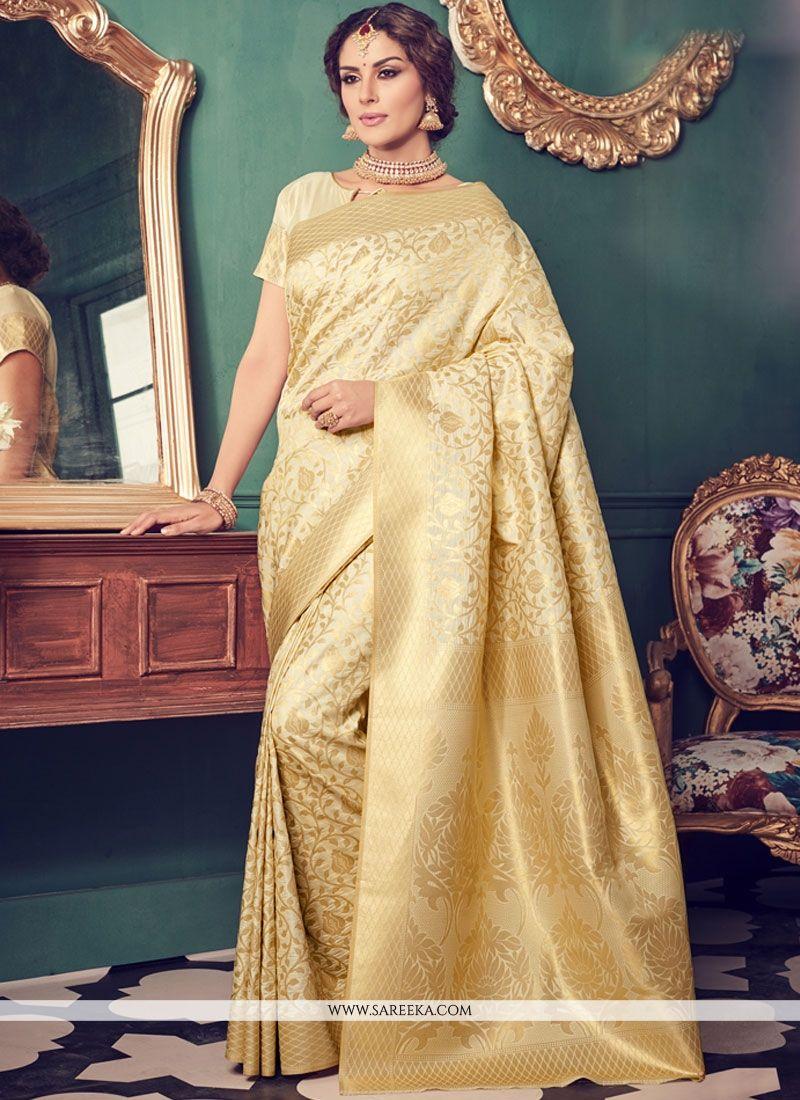 Weaving Work Beige Art Silk Designer Traditional Saree