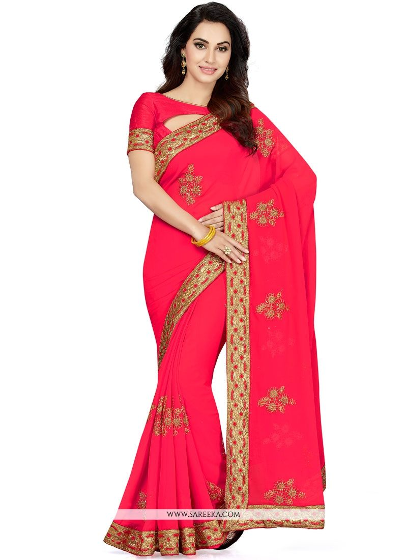 Hot Pink Embroidered Work Classic Saree