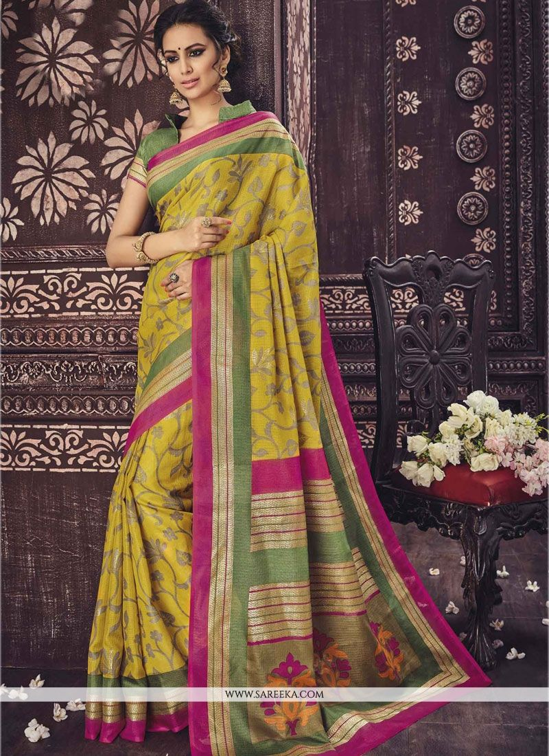 Engrossing Yellow Casual Saree