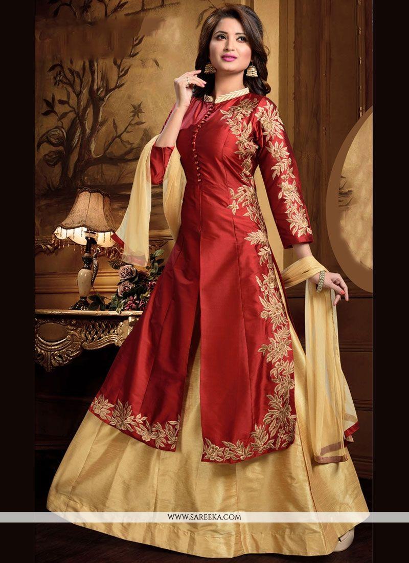 Buy Enthralling Art Silk Maroon Embroidered Work Long Choli ...