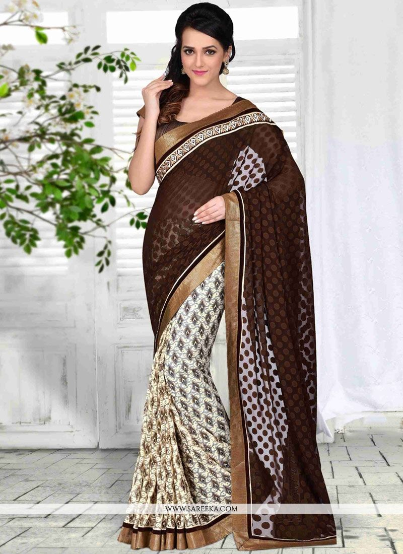 Net Brown Designer Half N Half Saree