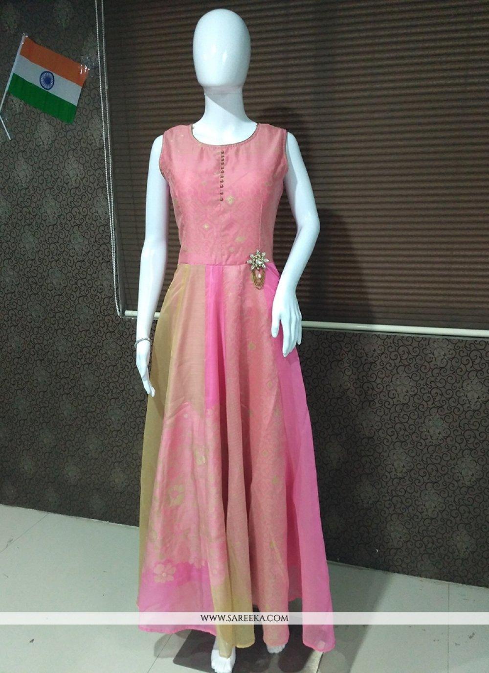 Banarasi Silk Print Work Readymade Gown
