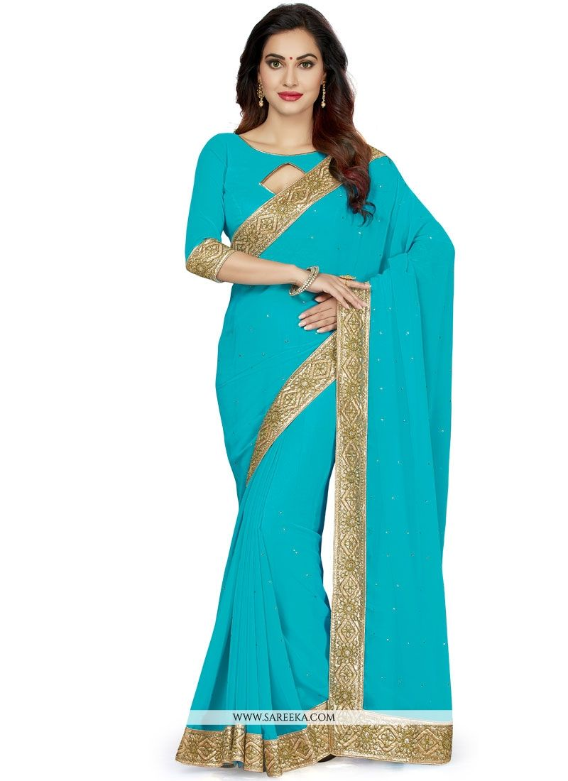 Faux Georgette Patch Border Work Classic Saree