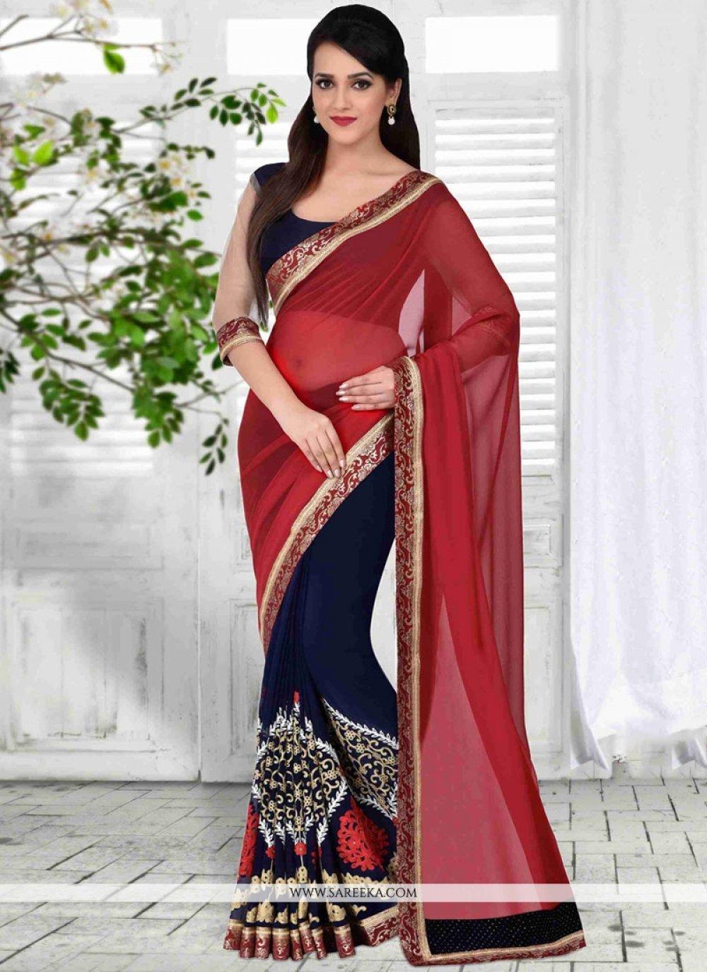 Navy Blue and Red Half N Half Designer Saree