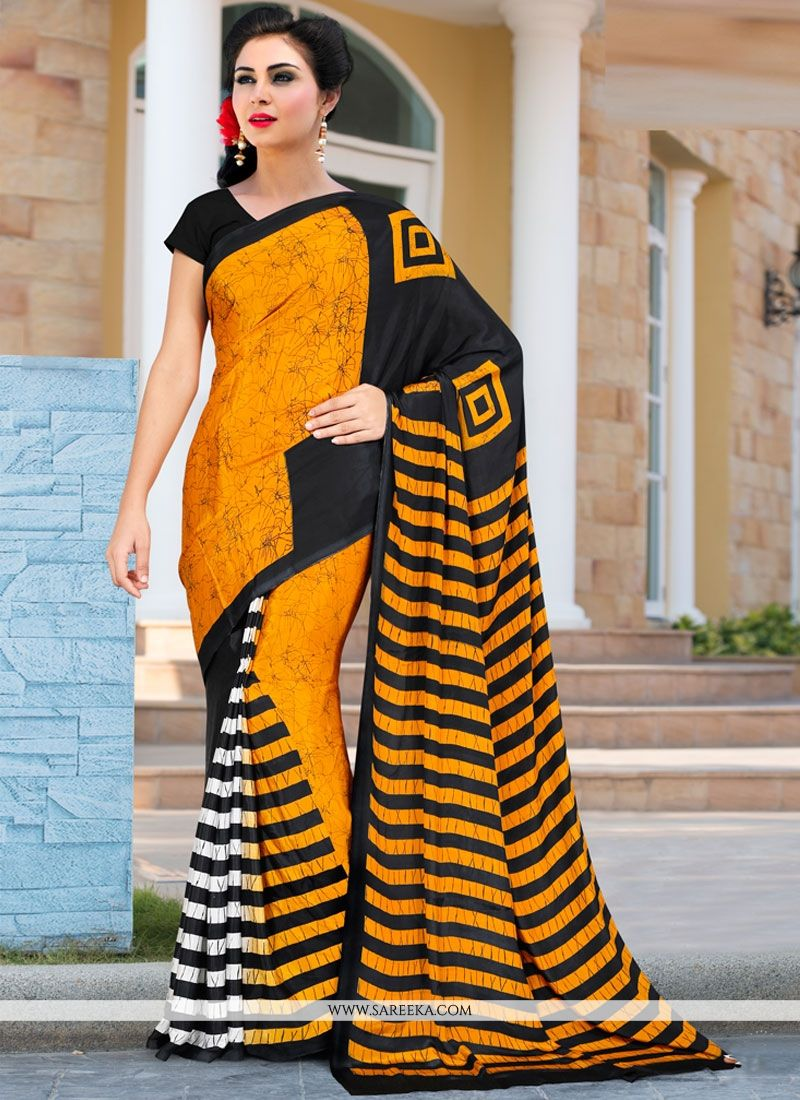 Black and Orange Printed Saree