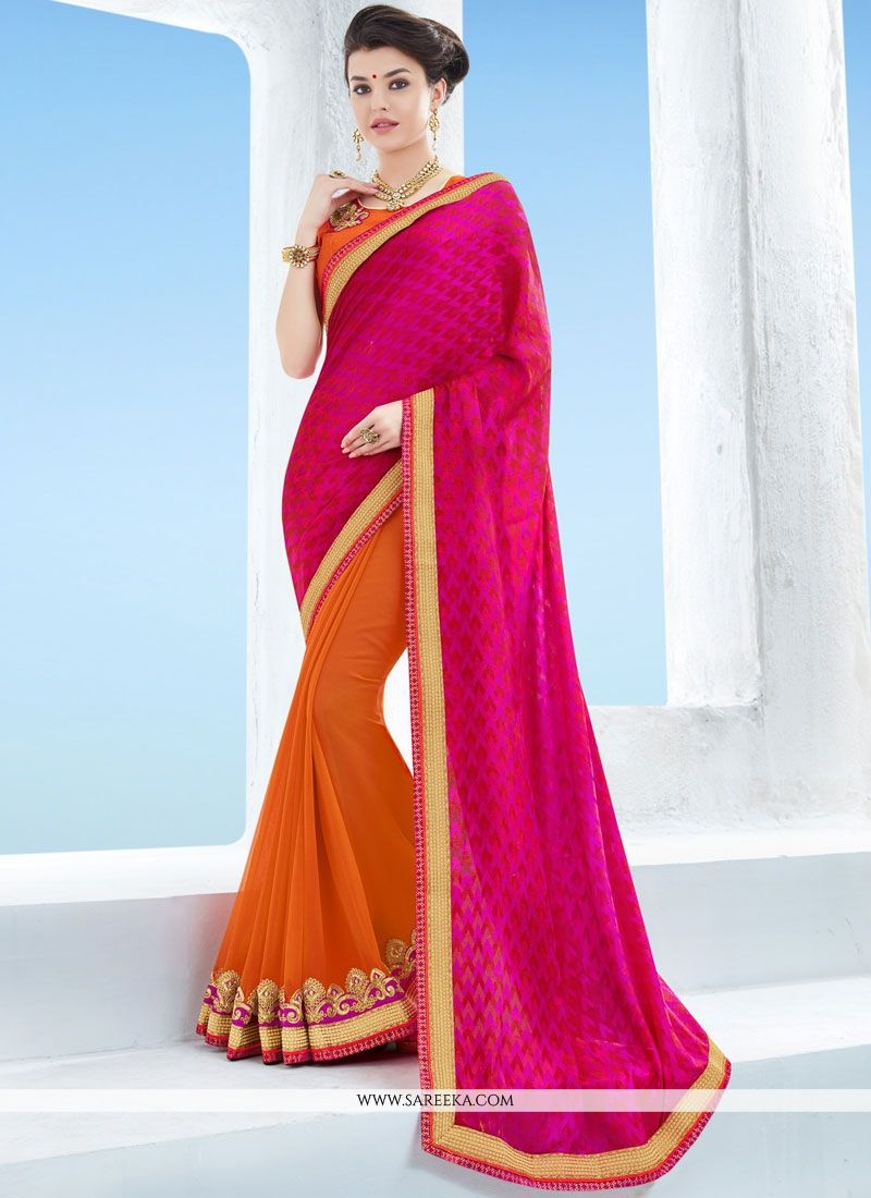 Jacquard Magenta and Orange Designer Half N Half Saree