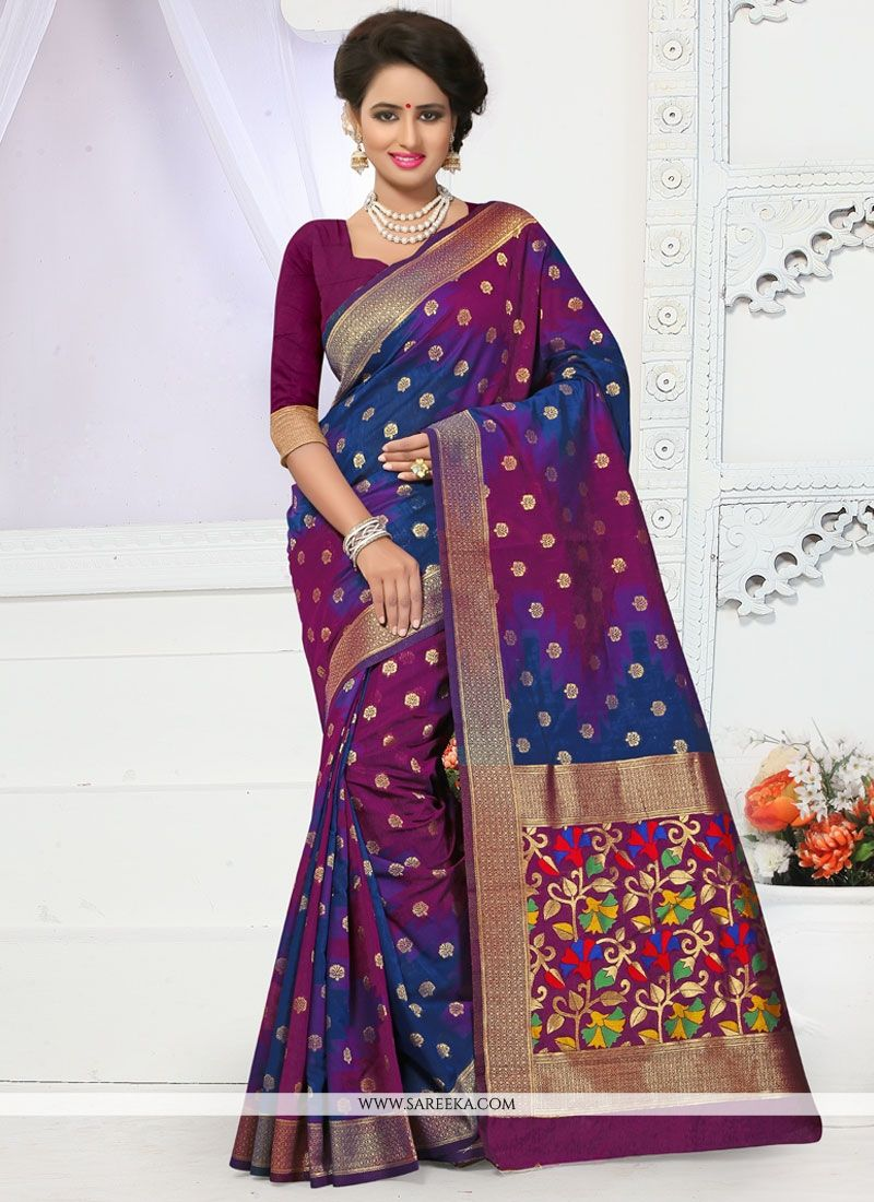 3170383282151 Buy Multi Colour Banarasi Silk Traditional Designer Saree Online   South  Africa -