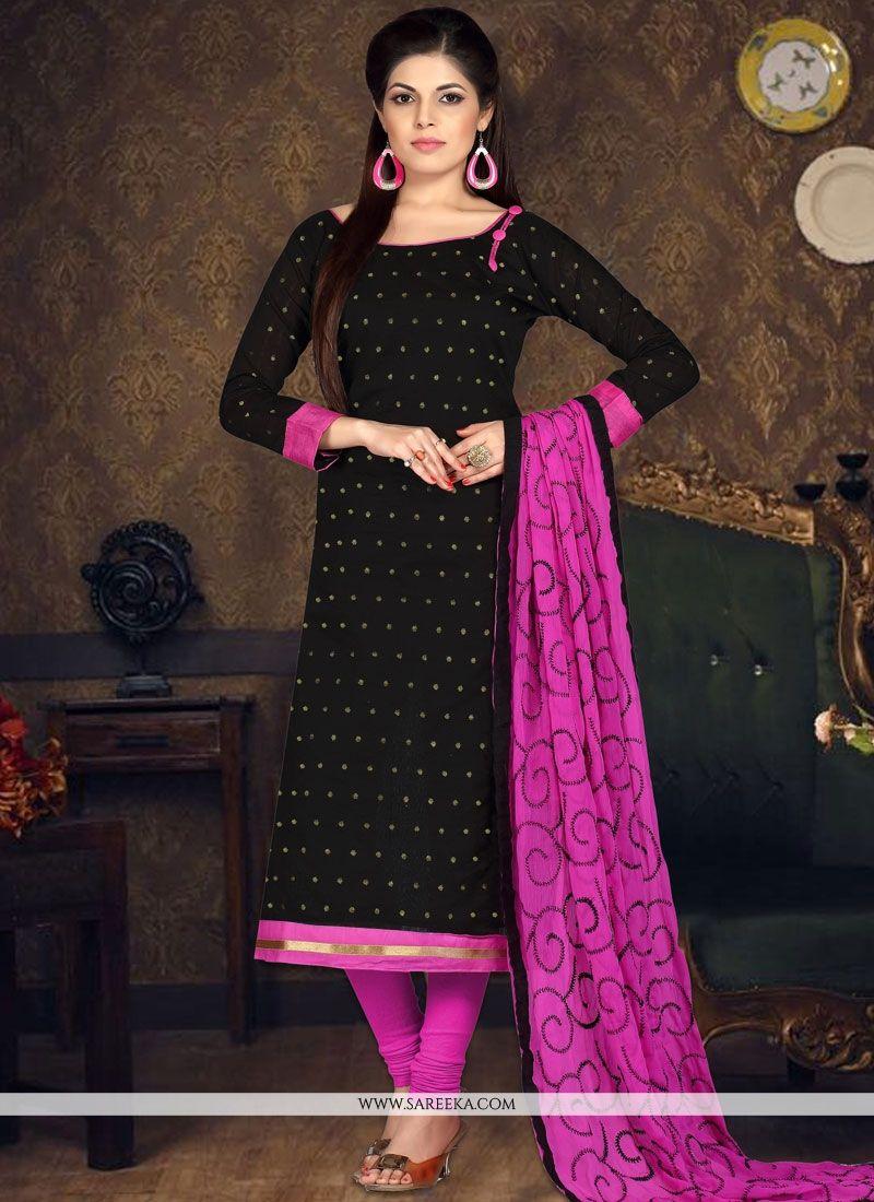Chanderi Cotton Embroidered Work Churidar Suit