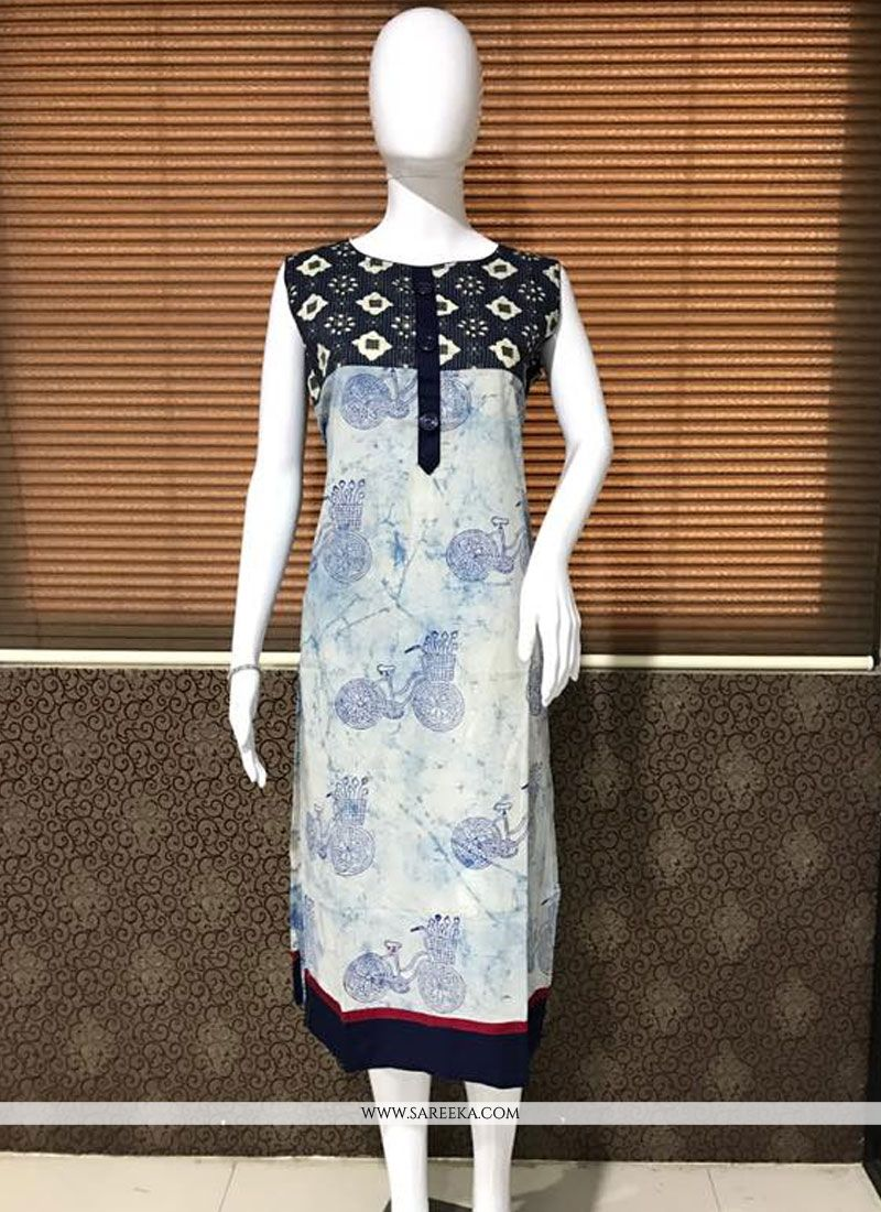 Print Work Cream Cotton   Party Wear Kurti