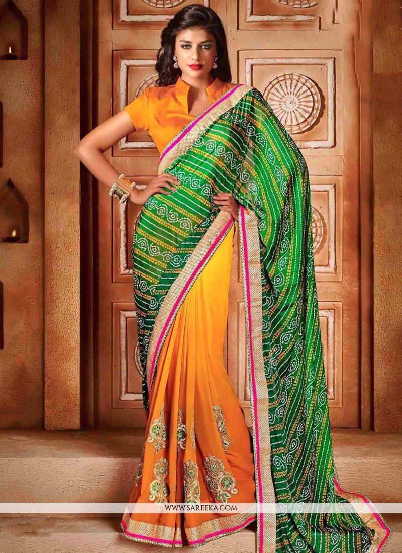 Green, Orange and Yellow Faux Chiffon Shaded Saree