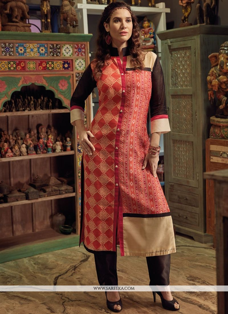 Chanderi Print Work Party Wear Kurti