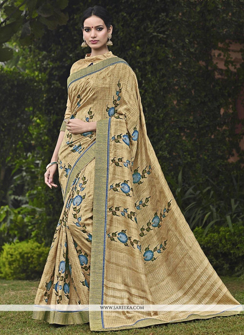 Handloom silk Print Work Printed Saree
