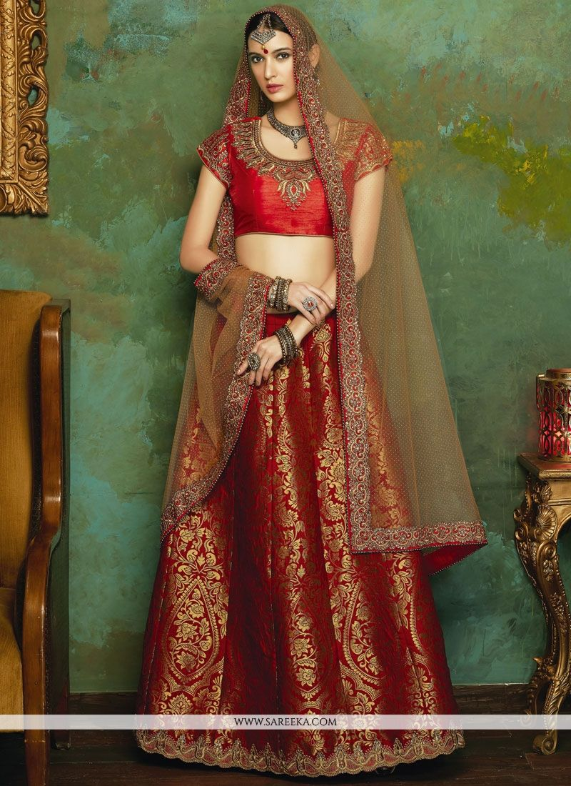 Jacquard Red Lehenga Choli