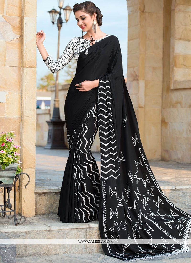Faux Crepe Print Work Printed Saree