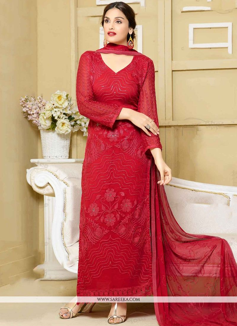Faux Chiffon Red Embroidered Work Designer Straight Suit