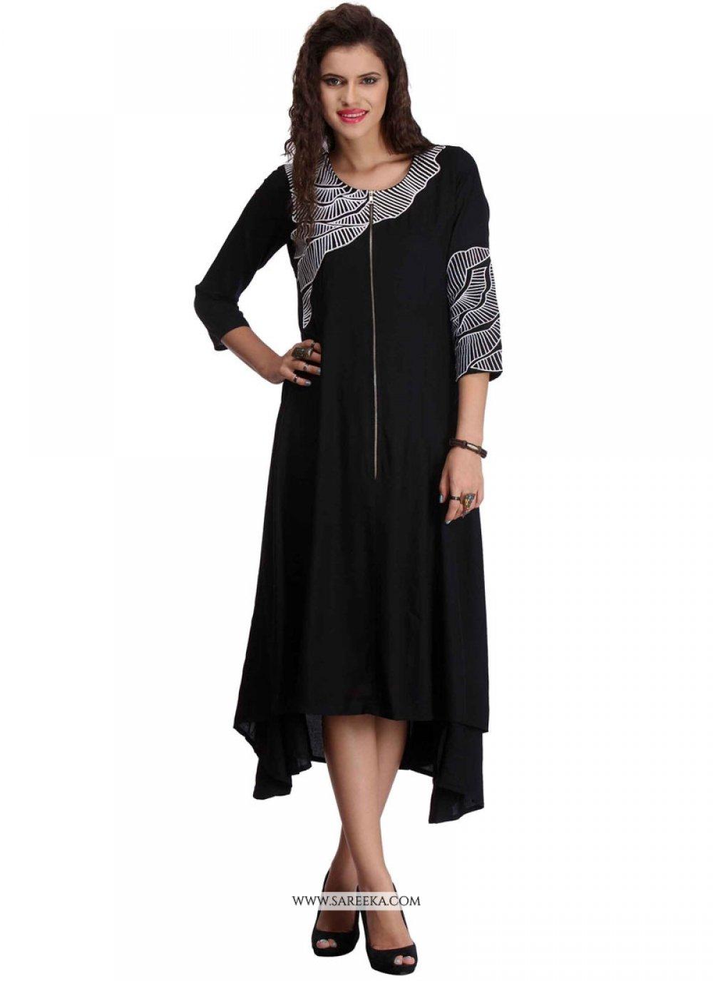 Rayon Black Party Wear Kurti