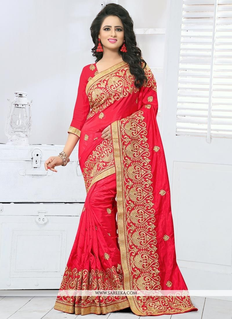 e3b47eb000 Buy Red Stone Work Art Silk Designer Traditional Saree Online : Germany -