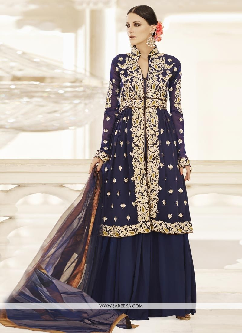 Navy Blue Embroidered Work Faux Georgette Long Choli Lehenga