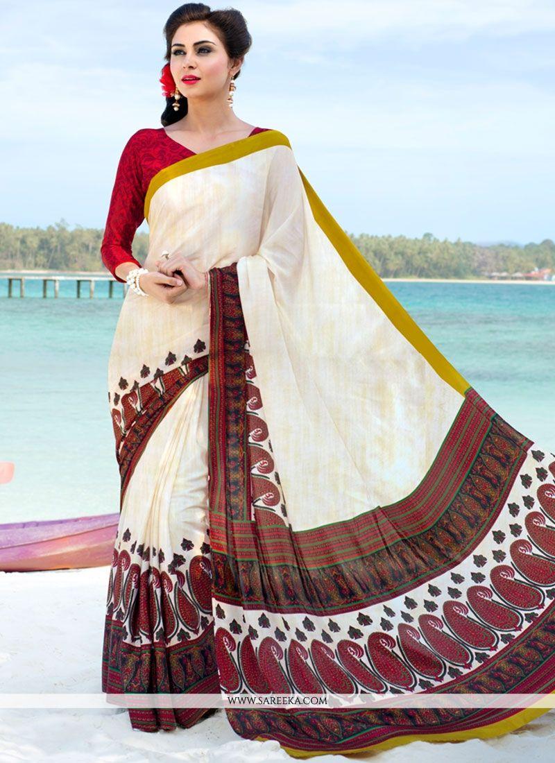 White Printed Saree