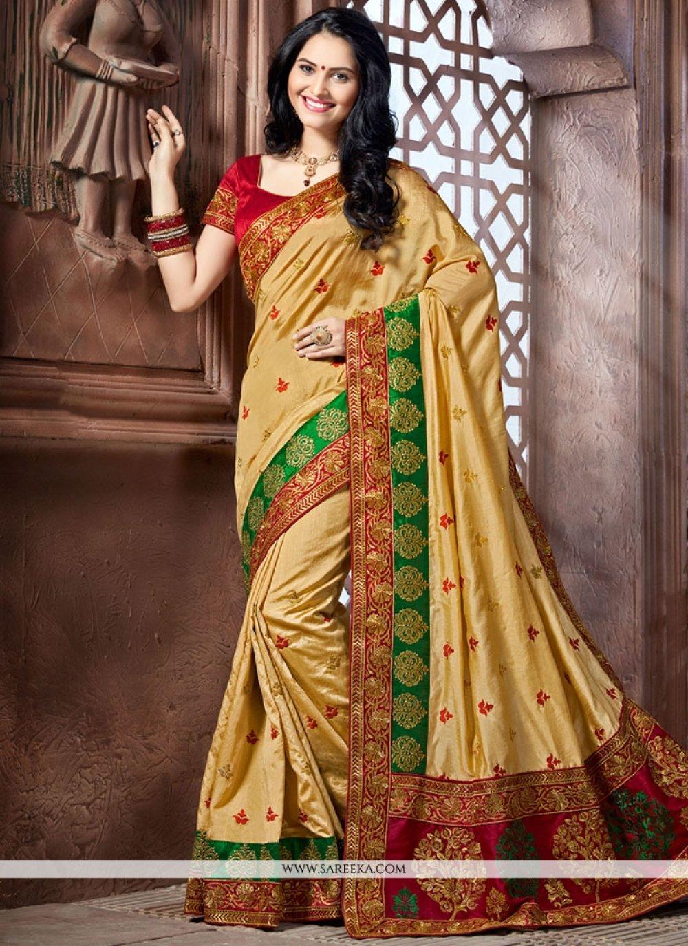 Beige Patch Border Work Crepe Silk Designer Traditional Saree