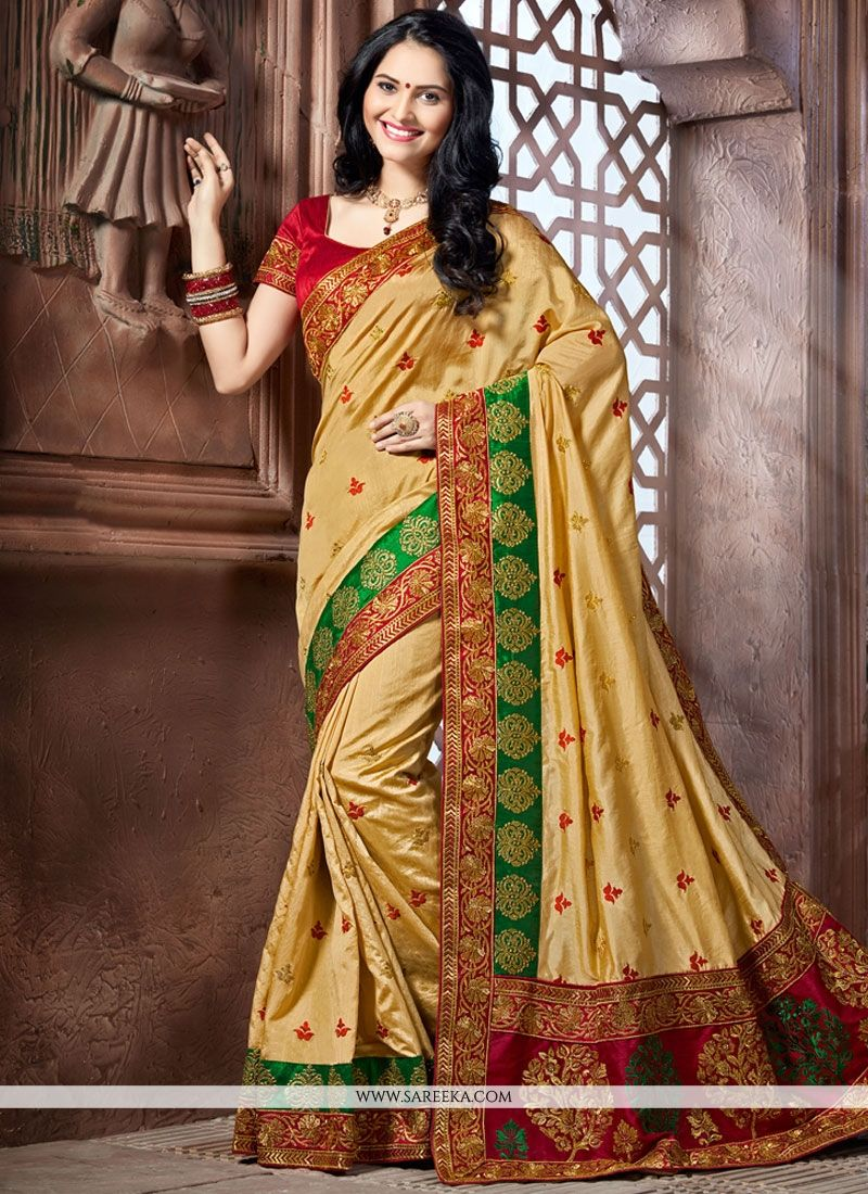Beige Patch Border Work Crepe Silk Designer Traditional Saree