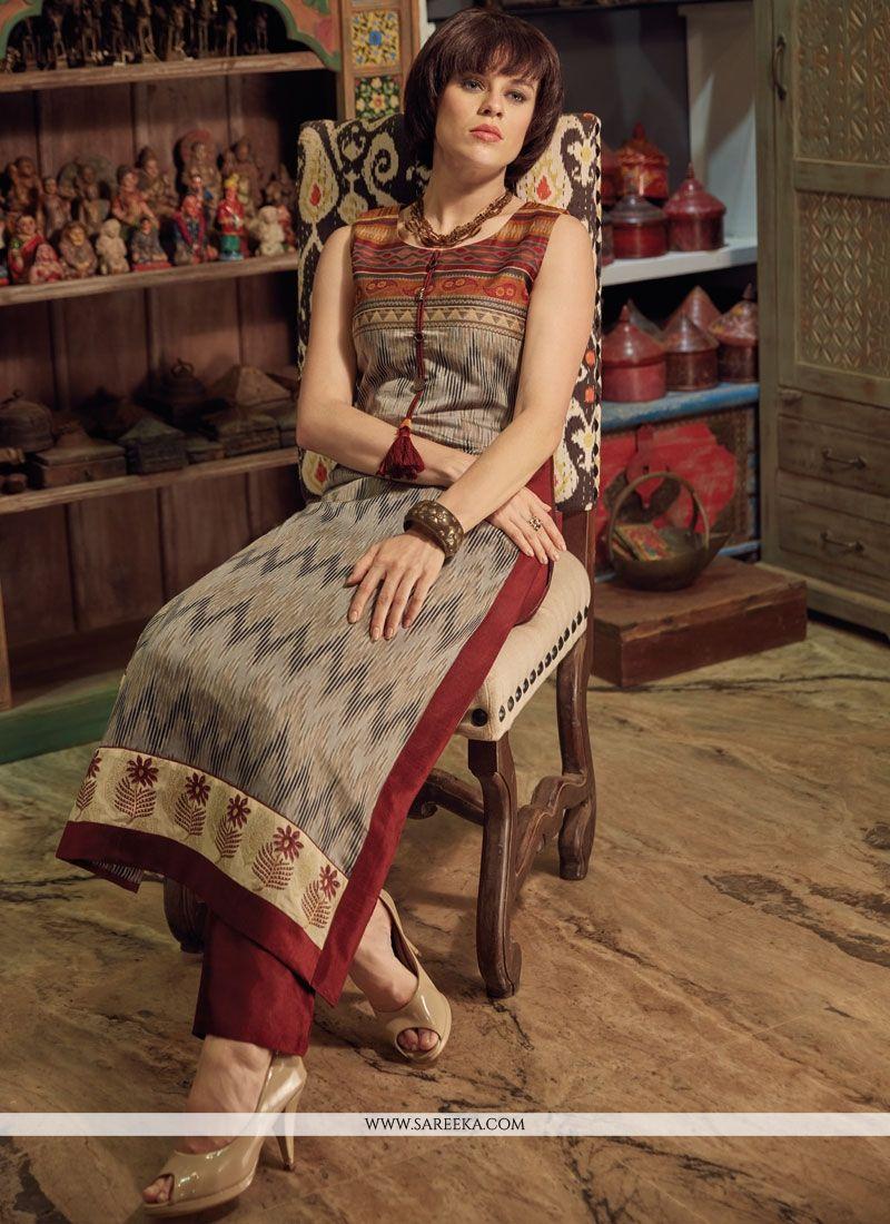 Chanderi Cotton Print Work Party Wear Kurti
