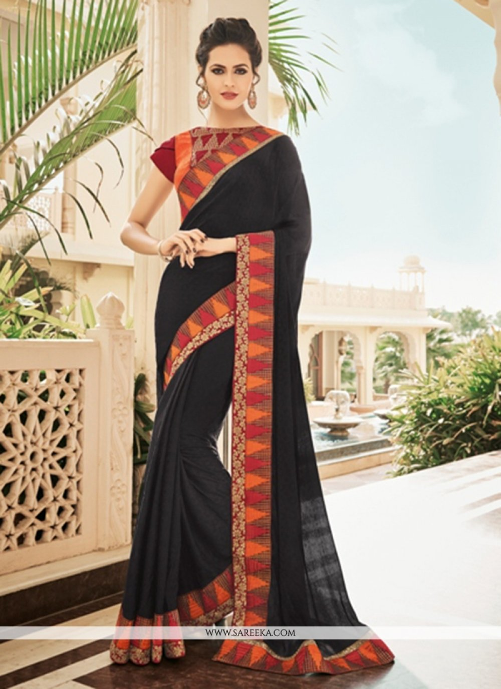Faux Georgette Embroidered Work Saree
