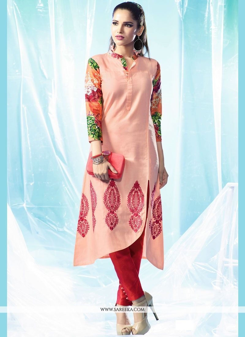 Peach Cotton   Designer Kurti