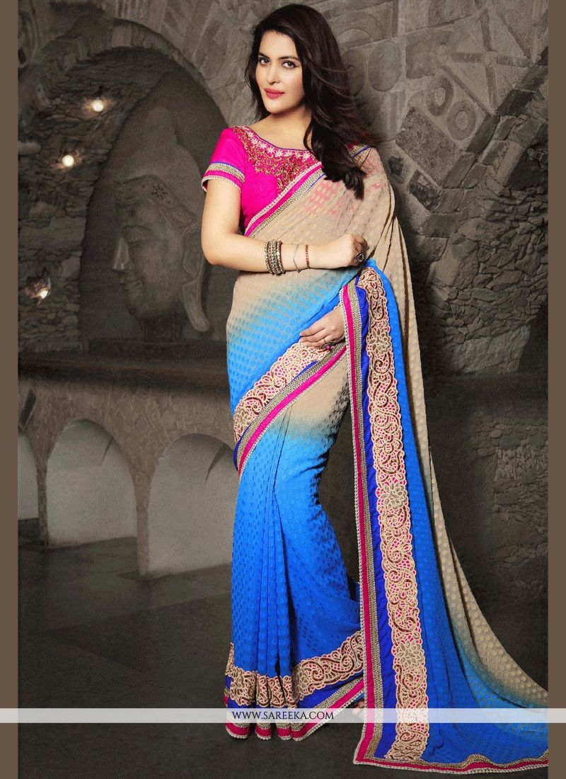 6487449919 Shop Online Fancy Fabric Beige and Blue Patch Border Work Shaded Saree :  64548 -