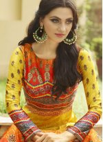 Fancy Fabric Multi Colour Floor Length Anarkali Suit