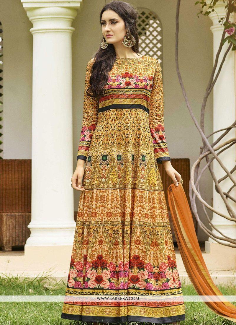 Fancy Fabric Print Work Floor Length Anarkali Suit