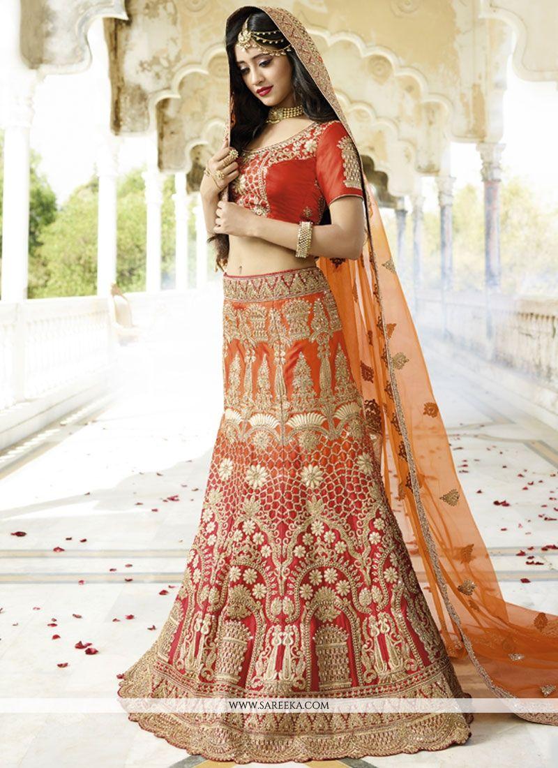 Red and Orange Satin Silk Lehenga Choli