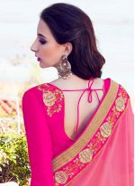 Bamber Georgette  Pink Patch Border Work Classic Saree