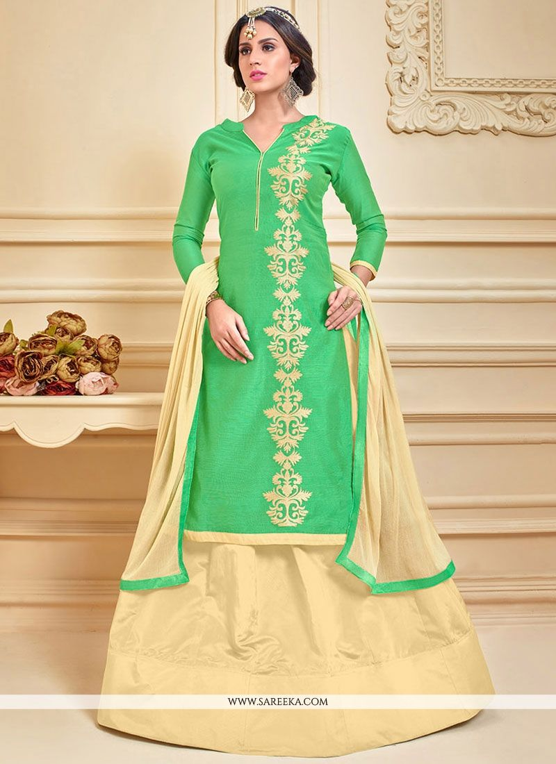 Chanderi Cotton Cream and Green Long Choli Lehenga