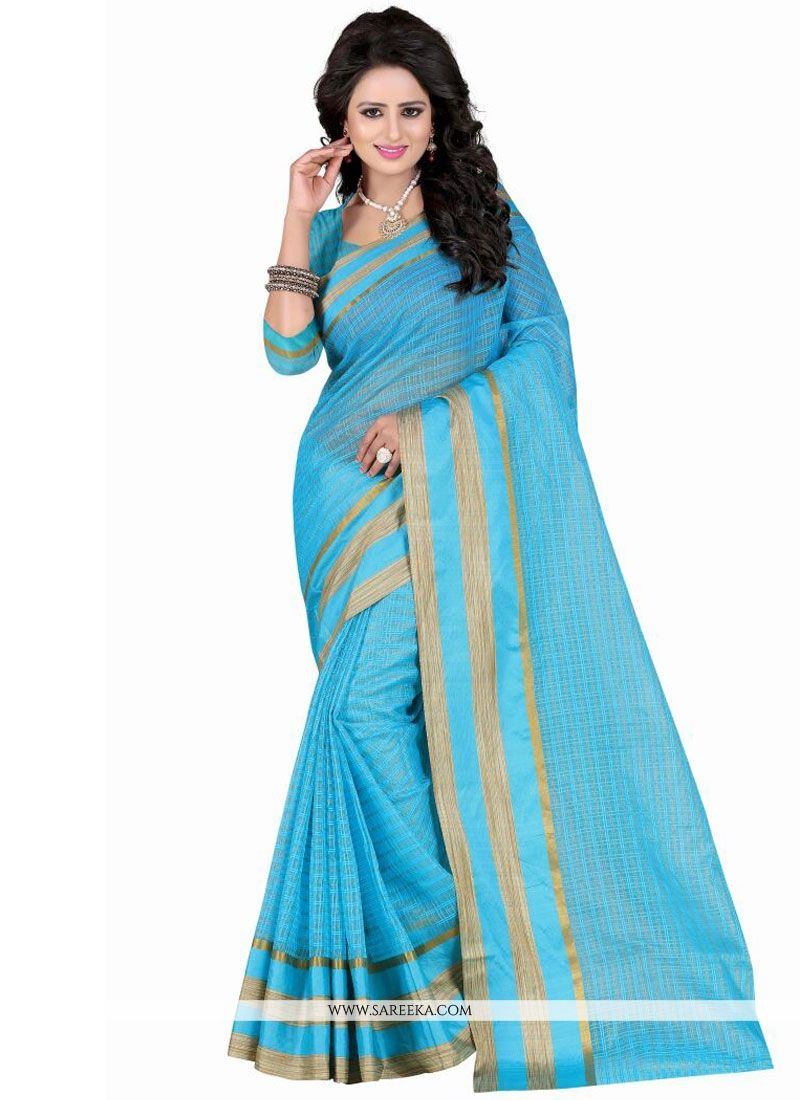 Turquoise Patch Border Work Polly Cotton Casual Saree