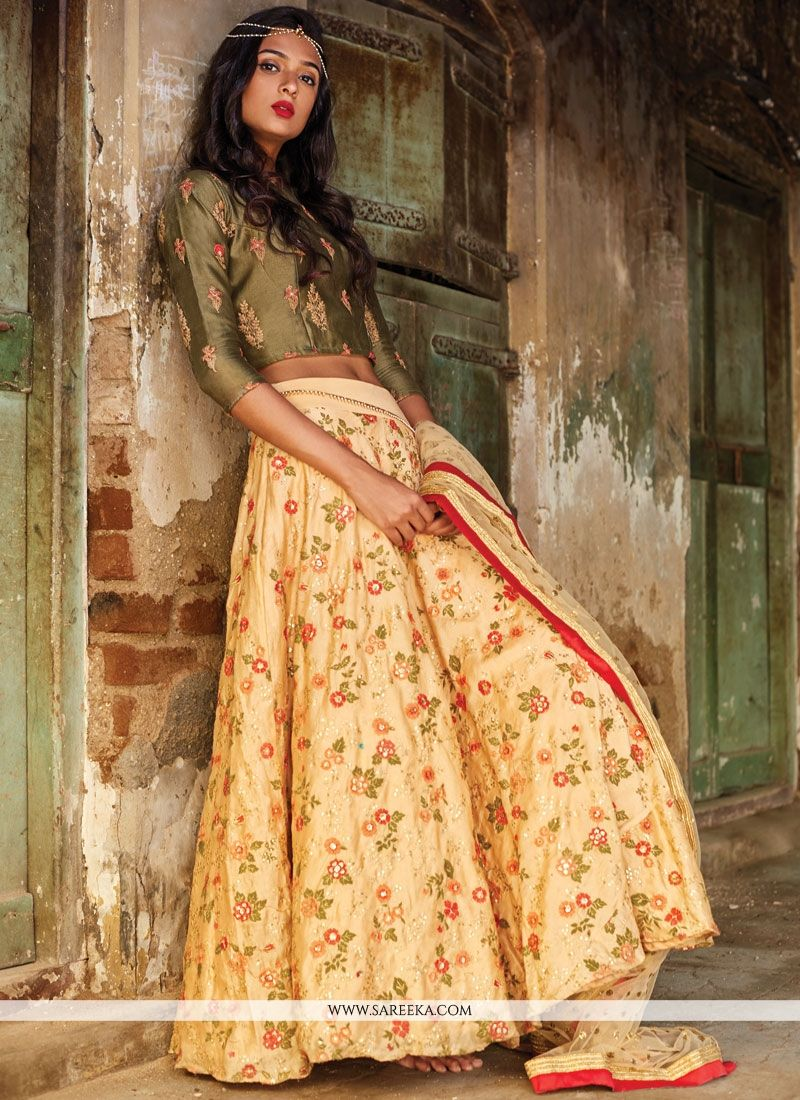 Cream and Green Sequins Work Net Lehenga Choli