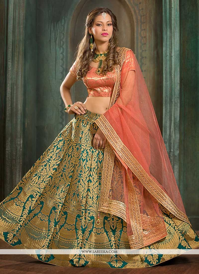 Jacquard Silk Floral Patterns Work Lehenga Choli